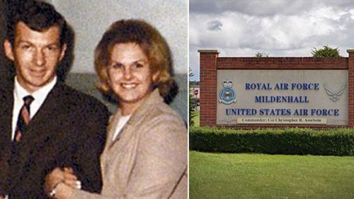 Paul Meyer and his wife known today as Mary Ann Jane Goodson. Right: the Mildenhall air base in eastern England where Meyer was based.