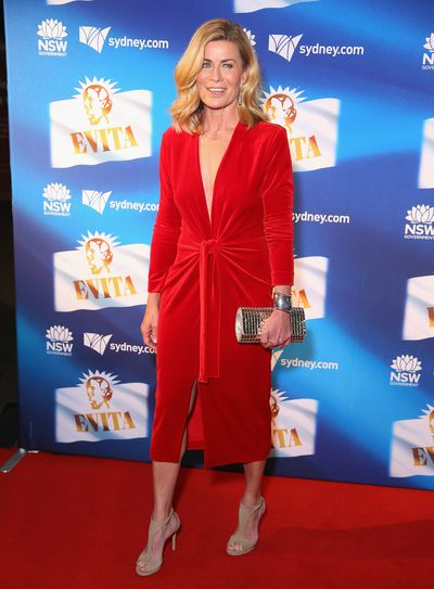 Media personality Deborah Hutton at the premiere of <em>Evita</em>, Sydney Opera House.