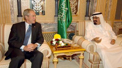 US President George W Bush with Saudi King Abdullah bin Abdulaziz in May 2008. (AAP)