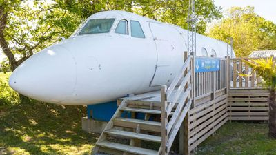 "<p>This plane fabulous Airbnb is <a href=""https://www.airbnb.co.uk/rooms/1405703?location=France&amp;s=FhaV8IM1#reviews"">an actual&#160;aircraft in western France</a>. It can sleep four and has a kitchen and bathroom.</p> <p>&pound;81 per night<br /> <br /> Photo: Airbnb</p>"