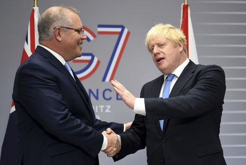 """Mr Johnson left quite an impression on Mr Morrison at their 40-minute meeting, with the Australian saying it had been a """"very lively affair""""."""