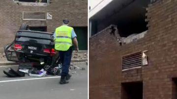 Sydney Eastwood shopping centre car crash BMW flip