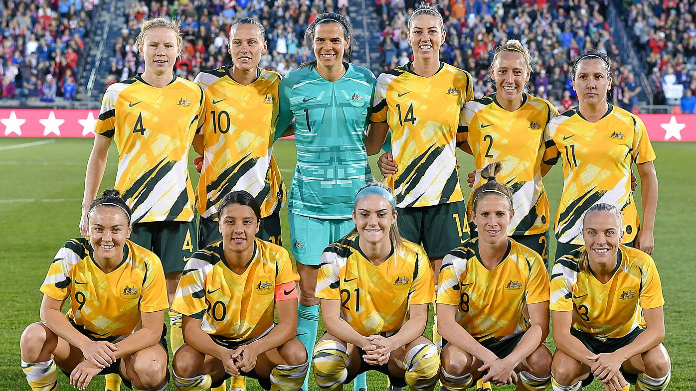 Matildas before playing USA