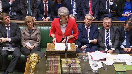 Theresa May addresses parliament after the crushing defeat.