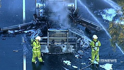 The truck was destroyed in the fire. Picture: 9NEWS