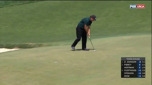 Mickelson was slapped with a two-stroke penalty and finished with 10 strokes on the whole, six over par. Picture: Foxtel