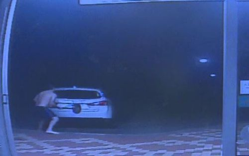 CCTV footage shows the entire incident unfold as the men drive off with more than $1200 of products. Picture: Supplied.