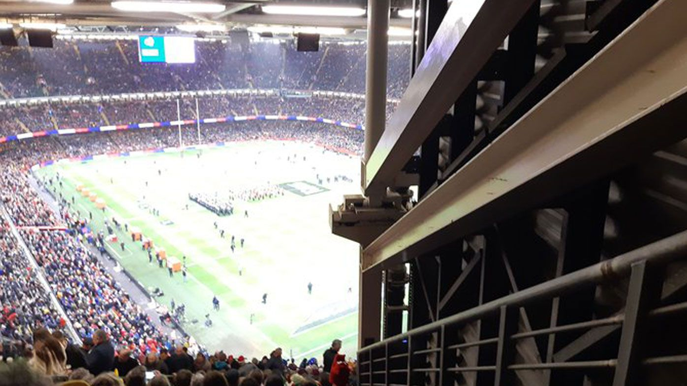 A rugby fan was disappointed to find her view of Wales v France was severely restricted