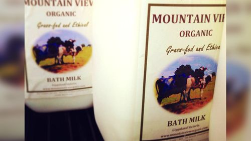 Mountain View Organic Bath Milk is sold with a label saying 'not for human consumption'.