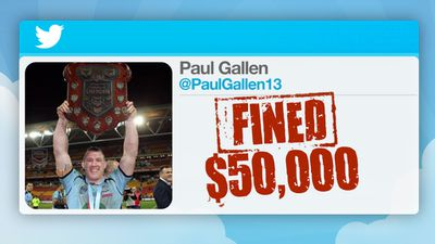 Gallen was fined $50,000 and banned from playing Test football for 2015.
