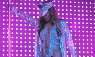 Jennifer Lopez in a scene from her hit new film, Hustlers.