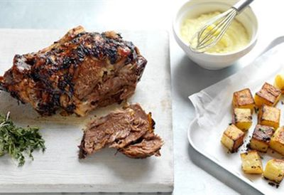 Greek roast lamb with skordalia and potatoes