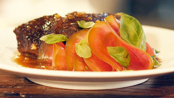 Matt Moran's slow-cooked beef cheeks, yuzu and watermelon radish