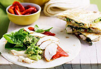 Chicken and avocado quesadillas