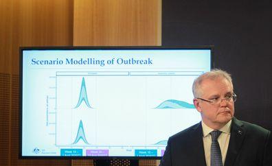 Prime Minister Scott Morrison announces new government measures to take on coronavirus. Picture:  Jacky Ghossein/SMH