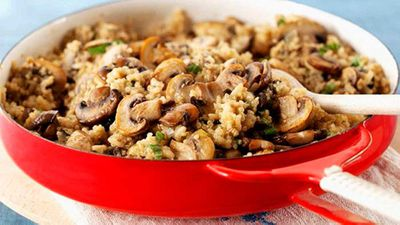 "Recipe: <a href=""http://kitchen.nine.com.au/2016/06/06/16/50/mushroom-risotto"" target=""_top"">Mushroom risotto</a>"