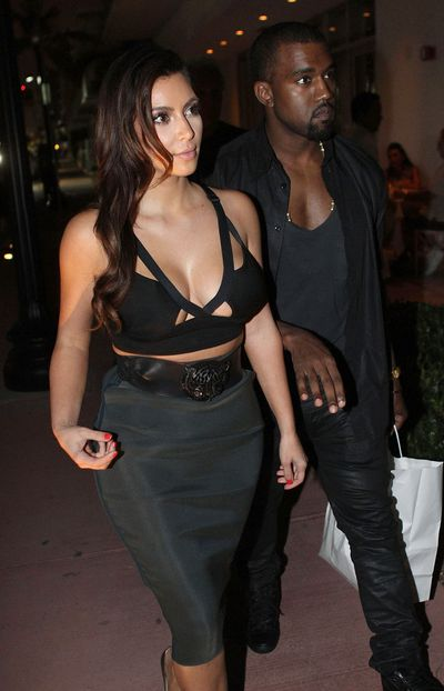 Kim Kardashian and Kanye West in Miami, 2012