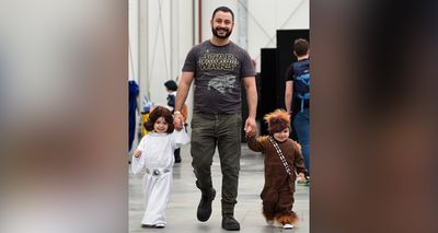 The pair attended the event with their father Roger Elias, a fellow Star Wars fan. (AAP)