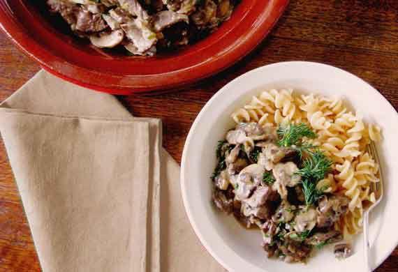 Rosella's beef and mushroom stroganoff