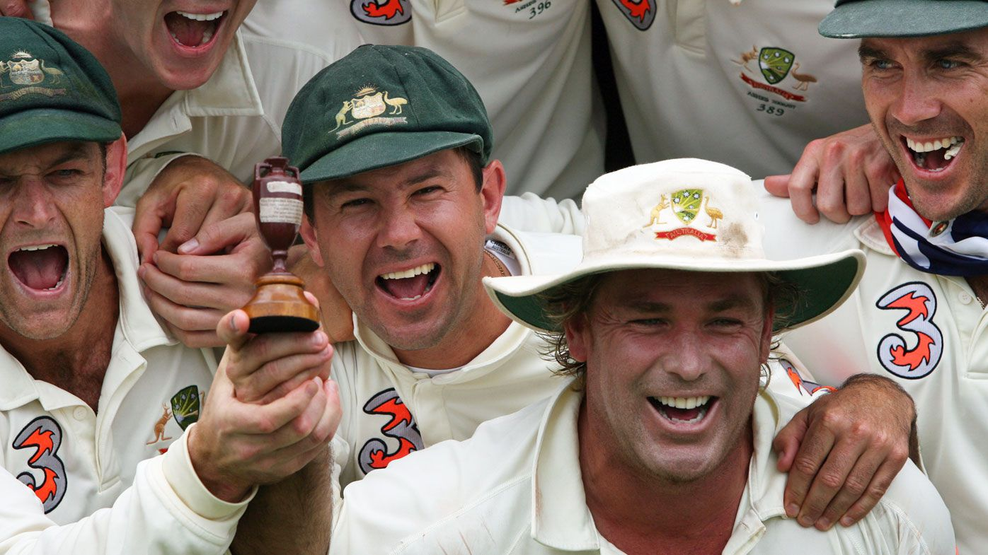 Warne, Ponting, Gilchrist, Langer celebrate winning the Ashes in 2006