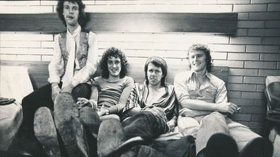 Sherbet, 1976: [L-R] Harvey James, Tony Mitchell, Daryl Braithwaite, Garth Porter, in the motel room after their performance in Colac, Victoria. Fairfax Media