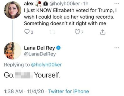 Lana Del Rey, Twitter, fan, exchange, US election, Donald Trump