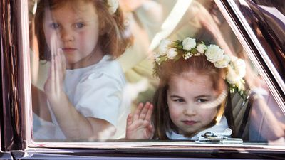 Princess Charlotte arrives at the Royal Wedding, May 2018