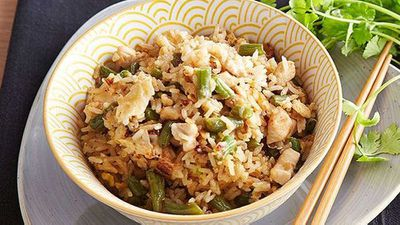 "Recipe: <a href=""http://kitchen.nine.com.au/2016/05/05/11/00/pohs-chicken-and-green-bean-fried-rice"" target=""_top"">Poh's chicken and green bean fried rice</a>"