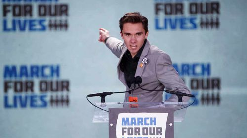 David Hogg, a survivor of the school shooting at Marjory Stoneman Douglas High School, speaks during the March For Our Lives in Washington, DC, 2018. (AP)