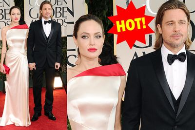 Angelina steps away from her usual black, and totally dazzles in soft gold and red.  Brad's always hot but seriously...that cane doesn't do him any favours!