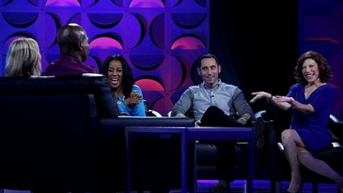 """Couples emerge from the """"sex box"""" and discuss the session with a trio of """"sex experts"""". (Supplied)"""