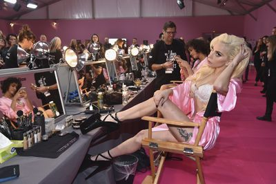 Lady Gaga backstage at Victoria's Secret