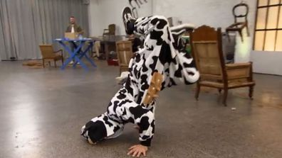 Luke transforming into a breakdancing cow is something I did not expect to see on The Block, but it's welcome nonetheless.
