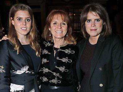 Princess Beatrice, Princess Eugenie, Sarah Ferguson.