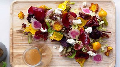 """<a href=""""http://kitchen.nine.com.au/2016/05/16/11/28/shannon-bennett-textures-of-beetroot-with-feta"""" target=""""_top"""">Shannon Bennett's textures of beetroot with feta<br> </a>"""