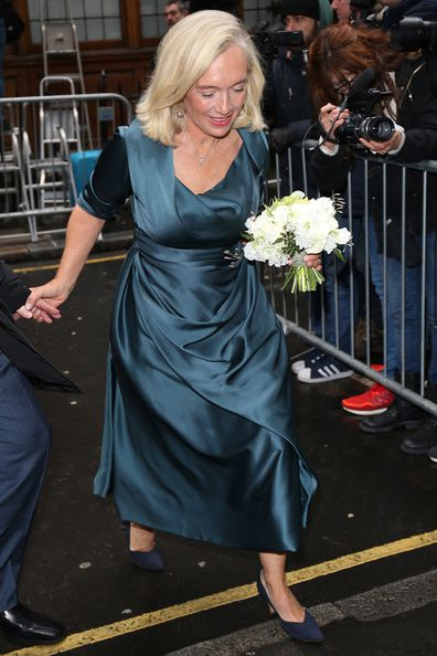 Prudence MacLeod arrives at St Brides Church for the Wedding of Jerry Hall and Rupert Murdoch on March 5, 2016 in London.
