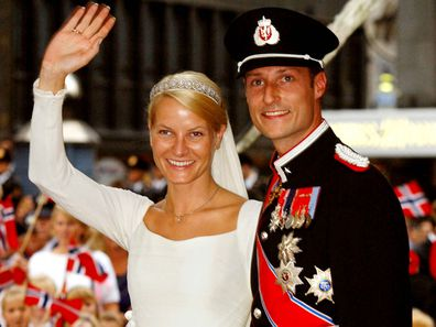 Crown Prince Haakon and Princess Mette-Marit on their wedding day, 2001.