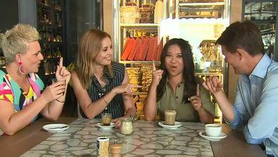 Jane de Graaff, Ali Langdon, Tracy Vo and Alex Cullen drink Melbourne coffee