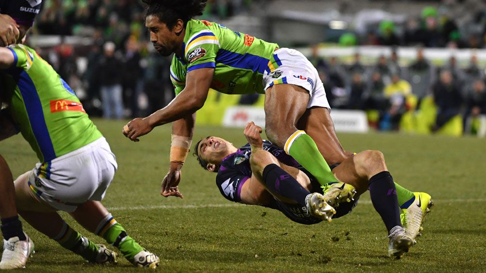 Sia Soliola's hit on Billy Slater. (AAP)