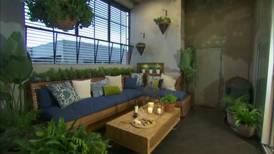 Dea and Darren's Outdoor Terrace on The Block Glasshouse