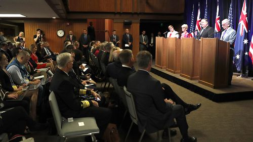 Australian Minister of Defence Marise Payne, Australian Minister for Foreign Affairs Julie Bishop, US Secretary of State Mike Pompeo and US Secretary of Defense James Mattis at the Australia-US Ministerial Consultations (AUSMIN) at Stanford University, California. (AAP)