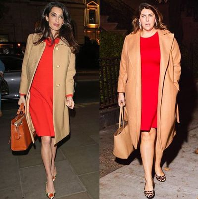 Plus-size blogger Katie Sturino replicating Amal Clooney's look