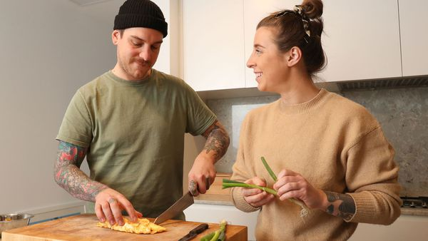 Chefs Matt Stone and Jo Barrett cook an egg stir-fry for Australian Eggs