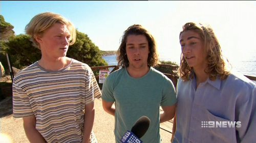 Nathan and Jason Burch and Luke Wright had a close call with a great white today. (9NEWS)