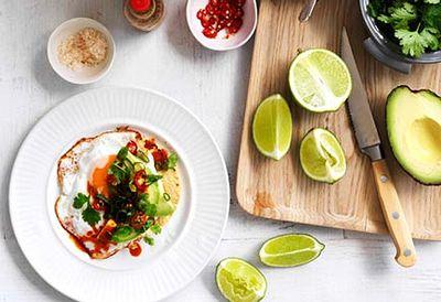 Fried egg, avocado and chilli tacos