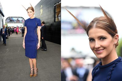 Kate Waterhouse took a feathery fash risk!<br/><br/>Image: AAP