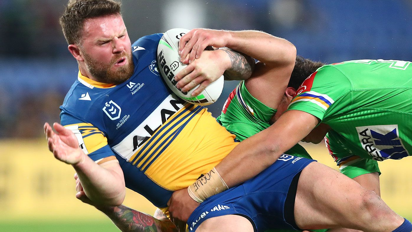 Nathan Brown of the Eels is tackled during the round 19 NRL match between the Parramatta Eels and the Canberra Raiders at Cbus Super Stadium, on July 22, 2021, in Gold Coast, Australia. (Photo by Chris Hyde/Getty Images)
