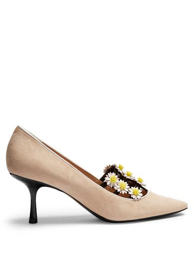 """<p><a href=""""http://www.matchesfashion.com/au/products/Fabrizio-Viti-Daisy-embellished-suede-pumps-1078542"""" target=""""_blank"""">Fabrizio Viti daisy embellished suede pumps, $939.</a></p> <p>White is lovely, but a neutral is too, especially when you add a pretty detail or two.&nbsp;</p>"""