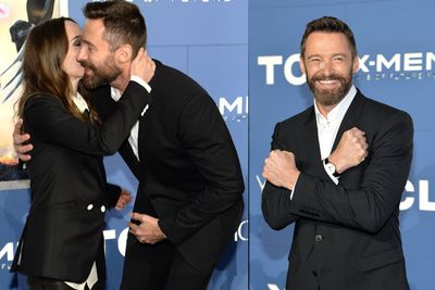 Hugh Jackman gives co-star Ellen Page a quick kiss, then shows off his Wolverine moves.