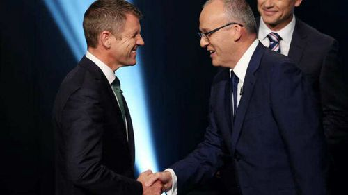 NSW Premier Mike Baird and Leader of the Opposition Luke Foley take part in the Leaders Debate in Sydney. (AAP)